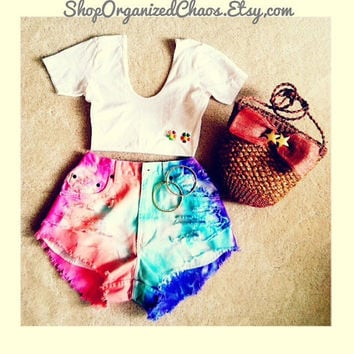 Rainbow Brite High Waist Shorts by SHOPOrganizedChaos on Etsy
