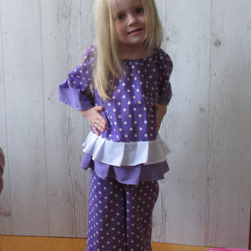 Purple Girl Outfit Set , Girl Clothing, Floral Peasant Top, Ruffle Pant , toddler capri set, infant peasant blouse, party outfit