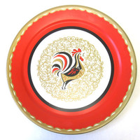 Large Rooster Plate Vintage Oversized Serving Tray Kitsch Mid Century Modern