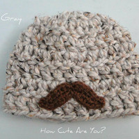 Baby Boy Hat with Mustache Crochet Chunky-Newborn to 12 months- Many Colors -Custom Made to Order