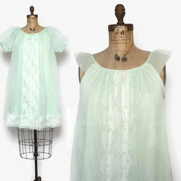 Vintage 60s Nightgown & Peignoir SET / 1960s Sheer Mint Green Double Chiffon Lace Trim Set