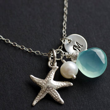 Silver Starfish Necklace, Personalized Initial Charm, Starfish Necklace, Aqua Blue Chalcedony,Freshwater Pearl and Initial Disc