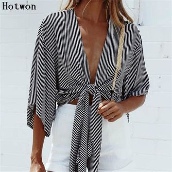 New Fashion Summer Autumn Crop Top Striped Sexy Deep V Neck Tie a Knot Bralette Short T Shirt Women Short Sleeve Loose Tops