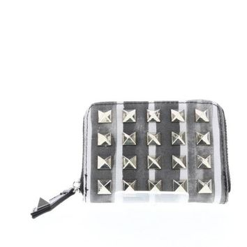 Striped Studded Canvas Small Zip Wallet