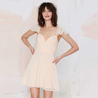 Apricot Lotus Sleeve Backless Dress with Sweetheart Neckline