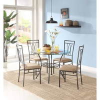 "Mainstays 5-Piece Glass and Metal Dining Set, 42"" Round Tabletop - Walmart.com"