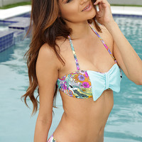Sky Blue Floral Print Bow Sexy Two Piece Swimsuit