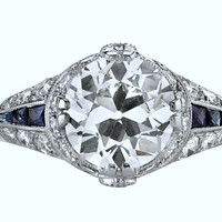 3.76ct Art Deco Round Diamond Engagement Ring  GIA certified 18kt  JEWELFORME BLUE