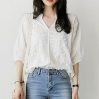 Solid Color Embroidered Short-Sleeved Shirt
