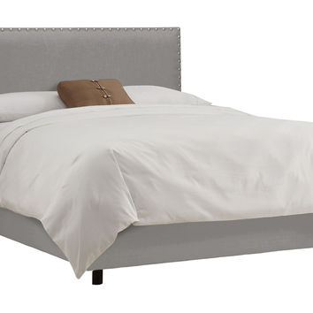 Loren Upholstered Bed, Gray, Panel Beds
