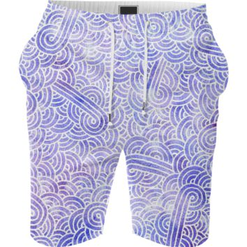 Lavender and white swirls doodles Summer Short
