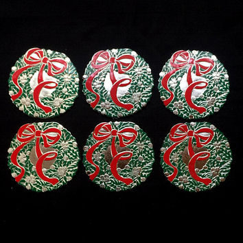 Holiday Collection Wreath Coasters - Set of Six - Oneida Silversmiths, New York - Silver plate with Enamel - Wm Rogers - Vintage 1988