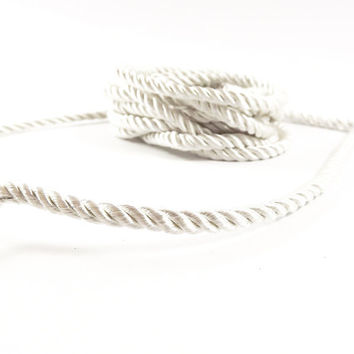 3.5mm Off White Twisted Rayon Satin Rope Silk Braid Cord - 3 Ply Twist - 1 meters - 1.09 Yards - No:17