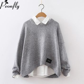 PEONFLY Women  Pullover and Sweaters Oneck Knitwear Korean Sweater and PulloverIrregular sueter mujer ugly christmas sweater