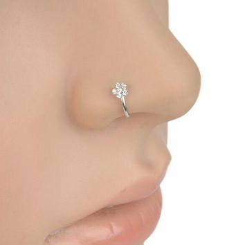 Sexy Flower Rhinestone Stainless Steel Nose Open Hoop Ring Body Piercing