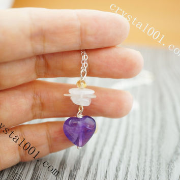Sterling silver amethyst heart moonstone necklace