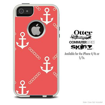 The Coral Vintage Anchor Skin For The iPhone 4-4s or 5-5s Otterbox Commuter Case