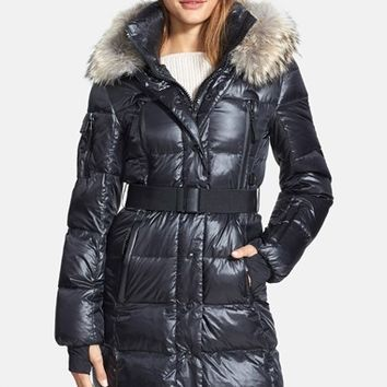 Women's SAM. 'Infinity' Belted Long Goose Down Coat with Removable Genuine Coyote Fur Trim
