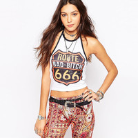 Letters Print Halter Cropped Top