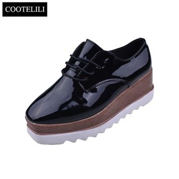 Womens Spring Casual Solid Flat Shoes Patent Leather Lace-Up Loafers Flat Platforms