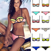 Womens Stylish Bikini Swimsuit Patchwork Swimwear