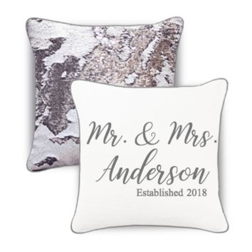 """*New!* Mr. & Mrs. 15"""" x 15"""" Personalized Name Mermaid Pillow"""