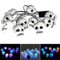 DCCKDZ2 High quality Modern style Halloween Skull 10-Head Bone String LED Light Lamp Set Decoration Colorful Bulb