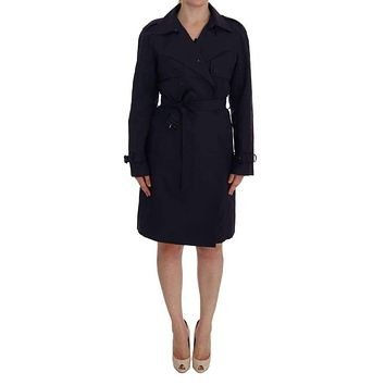 Dolce & Gabbana Purple Cotton Trench Coat