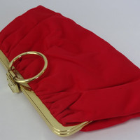 red satin purse vintage Christmas wedding clutch