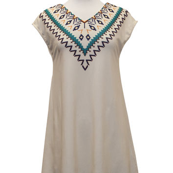 1019-Tribal print boho dress