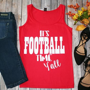 """It's Football Time Y'all"" Red Tank"
