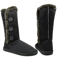 Womens Mid Calf Boots Pull On Fur Trim Side Button U Casual Shoes Gray SZ 5