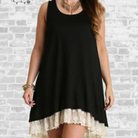 Lace Trim Tank Dress - Black