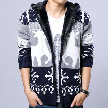 New Arrival Brand Men's Thick Warm Christmas Sweater Male Casual Zipper Hooded Cardigan Winter Wear Fur Lining Sweater Coat