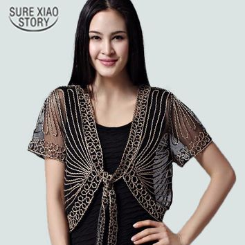 2015 High quality Summer Fashion Womens Clothing Wild Perspective Small Shawl Chiffon Lace Cardigan Gauze Lacing Boleros 802E 30