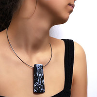 Anthracite Pendant Necklace - Artistic Polymer Clay Necklace - One-Of-A-Kind Necklace -Midnight Storm