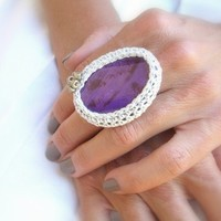 Crochet Agate Ring, Purple, Adjustable Ring, Silver Yarn, Glass Beads