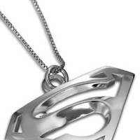 Superman InspiredCharm Pendant Solid Sterling Silver Jewelry