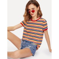 Multicolor Striped Ringer Tee