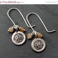 SALE 20%off Om Hill Tribe Silver and Sterling Earrings Aventurine Natural Gemstone
