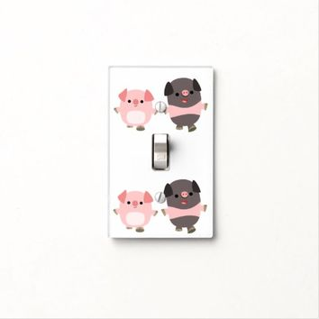 Cute Cartoon Pigs On a Walk Light Switch Cover