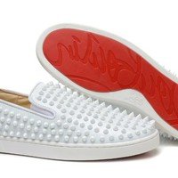 hcxx Christian Louboutin All White leather lowtop