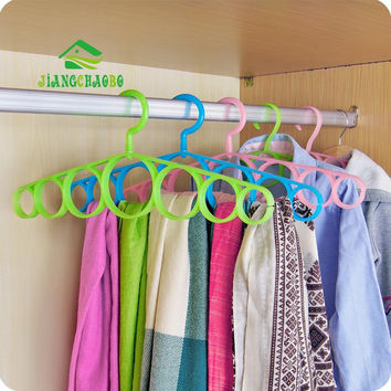 7 Ring Hole Round Tie European Clothes Scarves Storage Rack Cloth Rotate Save Space Closet Organizer Scarf Hanger Hangers