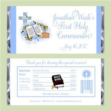 Blue Bible First Communion Candy Bar Wrappers