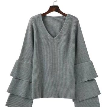 Pullover Winter Trendy V-neck Sweater [498444861486]