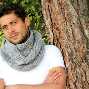 Hand Knit infinity - Men Scarf. Block Infinity Scarf. Loop Scarf, Circle Scarf, Neck Warmer. Gray Scarf, Men  Scarves, Guy, Man, Men,