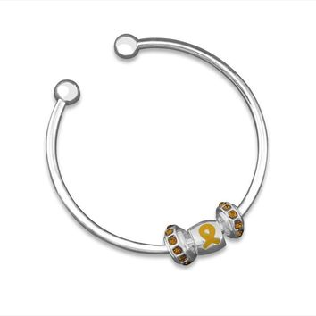 Gold Ribbon Open Bangle Bracelet for Childhood Cancer Awareness