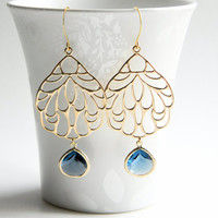 Gold Filigree Pendant Dangle Earrings with Sapphire Blue Faceted Glass Drops