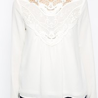 Vero Moda High Neck Lace Insert Long Sleeve Top