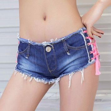 New Design Sexy Women Slim Hip Shorts Gym Fitness Shorts Summer Low Waist Blue Pink Girls Lady Evening Party Mini Shorts